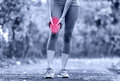 Muscle sports injury of female runner thigh woman running strain in closeup touching leg in Royalty Free Stock Photo