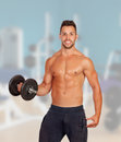 Muscled guy lifting weights in the gym Royalty Free Stock Photos