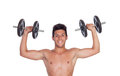 Muscled guy lifting weights isolated on white background Royalty Free Stock Photos