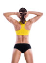 Muscles on a body of beautiful fitness woman Royalty Free Stock Photo