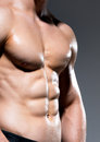 Muscular body of young sexy man beautiful on a gray background Royalty Free Stock Images