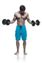 Muscular bodybuilder guy doing exercises with dumbbells over whi white background Royalty Free Stock Photography