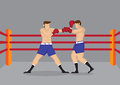 Muscular Boxers Fighting in Boxing Ring Vector Illustration Royalty Free Stock Photo