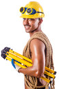 Muscular builder with tools  on white Stock Photo