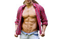 Muscular chest of male bodybuilder with open shirt showing ripped body abs and pecs isolated on white Royalty Free Stock Photography