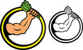 Muscular Hand Holding Vegetable Leafs Circle Frame Illustration.