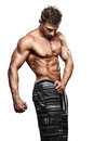 Muscular handsome sexy guy posing isolated on white Royalty Free Stock Photography