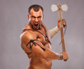 Muscular male portrait of ancient warrior Royalty Free Stock Image