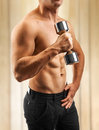 A muscular male torso with dumbbell Royalty Free Stock Photo