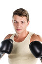 Muscular man boxing Stock Image