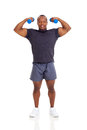 Muscular man dumbbells afro american showing muscles exercising with Stock Images