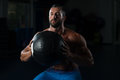 Muscular Man Exercise With Medicine Ball Royalty Free Stock Photo