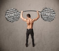 Muscular man fighting with stress strong Stock Photos