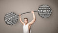 Muscular man fighting with stress strong Royalty Free Stock Photos