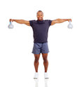 Muscular man kettle bells smiling african with on white background Stock Photos