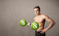 Muscular man lifting green dollar sign weights strong Royalty Free Stock Photo