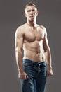 Muscular man posing shirtless Royalty Free Stock Photography