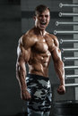 Muscular man showing muscles, posing in gym. Strong male naked torso abs, working out Royalty Free Stock Photo