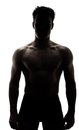 Muscular man in silhouette isolated on white background Stock Photo