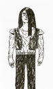 Muscular man watercolour human body muscles and a straight position long hair painted Royalty Free Stock Photo