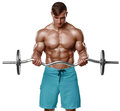 Muscular Man Working Out Doing...