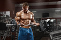 Muscular man working out in gym doing exercises with barbell at biceps, male naked torso abs Royalty Free Stock Photo