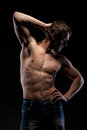 Muscular naked man black Royalty Free Stock Photography