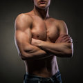 Muscular naked man black Stock Photography