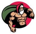 Muscular Santa claus bring a bag full of christmas gift Royalty Free Stock Photo