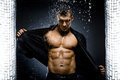 Muscular sexy guy the very handsome under shower naked torso Royalty Free Stock Photos