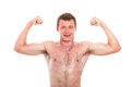 Muscular sports man showing biceps Royalty Free Stock Photos