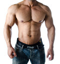 Muscular torso pecs abs and arms of male bodybuilder in jeans isolated on white background Stock Image