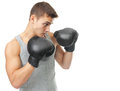 Muscular young boxer man ready to fight side view portrait of isolated on white background Stock Photo