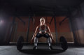 Muscular young fitness woman lifting a weight in the gym Royalty Free Stock Photo