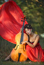 Muse for musicians inspired by the girl playing the cello Royalty Free Stock Photography