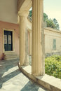 Museum in the city of corfu pillars entrance yhe greece Stock Image