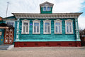 The museum of goodness old blue wooden house with carved patterns gorodets russia may white gorodets is oldest city in Stock Photos
