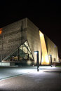 Museum of the history of polish jews in warsaw building at night it is a new on site ghetto opened on april Royalty Free Stock Photo