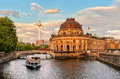 Museum island on Spree river and Alexanderplatz TV tower in cent Royalty Free Stock Photo