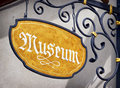 Museum sign old close up Royalty Free Stock Image