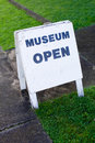 Museum sign on a sandwich board Royalty Free Stock Image