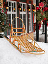 Mushing sleigh in a snow Royalty Free Stock Image