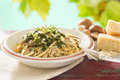 Mushroom artichoke linguini Royalty Free Stock Photo