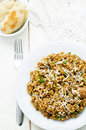 Mushroom and barley stew with cheese on a white wood background tinting selective focus Royalty Free Stock Image