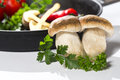 Mushroom boletus and pan before cook cooking Stock Photos