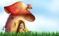Mushroom close up house on the field Stock Photography