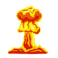 Mushroom cloud sign orange and red illustration on a white background Royalty Free Stock Photography