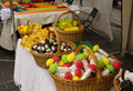Mushroom corn pear shape sweet basket market fair Royalty Free Stock Photo
