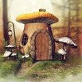 Mushroom cottage and a lantern