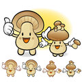 Mushroom couple characters to promote vegetable selling fungus character design series Stock Photo
